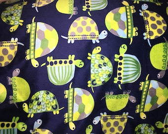Preppy Turtles Minky with Black, Navy or Gray Minky Bumpy Bubble Back for Toddler/Crib/Lap Size Minky Blanket