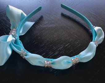 Baby Blue  Bow on headband with rhinestones