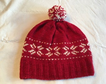 Ladies snowflake hand knit winter hat/Ladies winter hat/Ladies snowflake hat/ladies hand knit hat