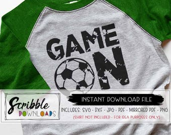 Soccer SVG Soccer Ball Svg Game Day svg Game On dxf svg Cricut Silhouette Cut File sports distressed grunge soccer mom iron on cheer futbol