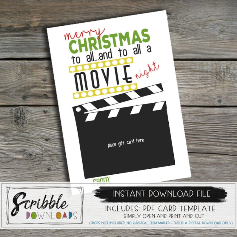graphic regarding Gift Not Included Printable called Printable present card holder Xmas video night time PDF Thank on your own card instructor pupil reward manager neighbor present observe print card online video evening
