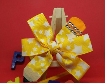 Pinwheel Pencil Hairbows. Sunny Yellow with white designs. With a splash of bling. School hairbows, Girl Hairbows, Unique Hairbows, Ribbon