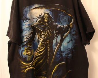Vintage 90s Full Print Grim Reaper Tee - L