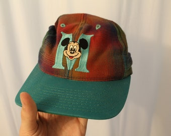 Vintage 90s Plaid Mickey Mouse Snapback - OS