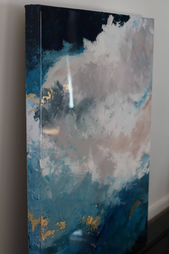 Epoxy Acrylic Painting : Shiny sky blue epoxy gold leaf resin on canvas painting glass