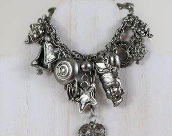 SALE! SALE! Vintage silver Gypsy, fortune teller,  charm brooch, pin