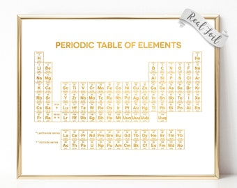 periodic table of elements gold foil print periodic table wall art science teacher gift - Periodic Table Of Elements Gifts