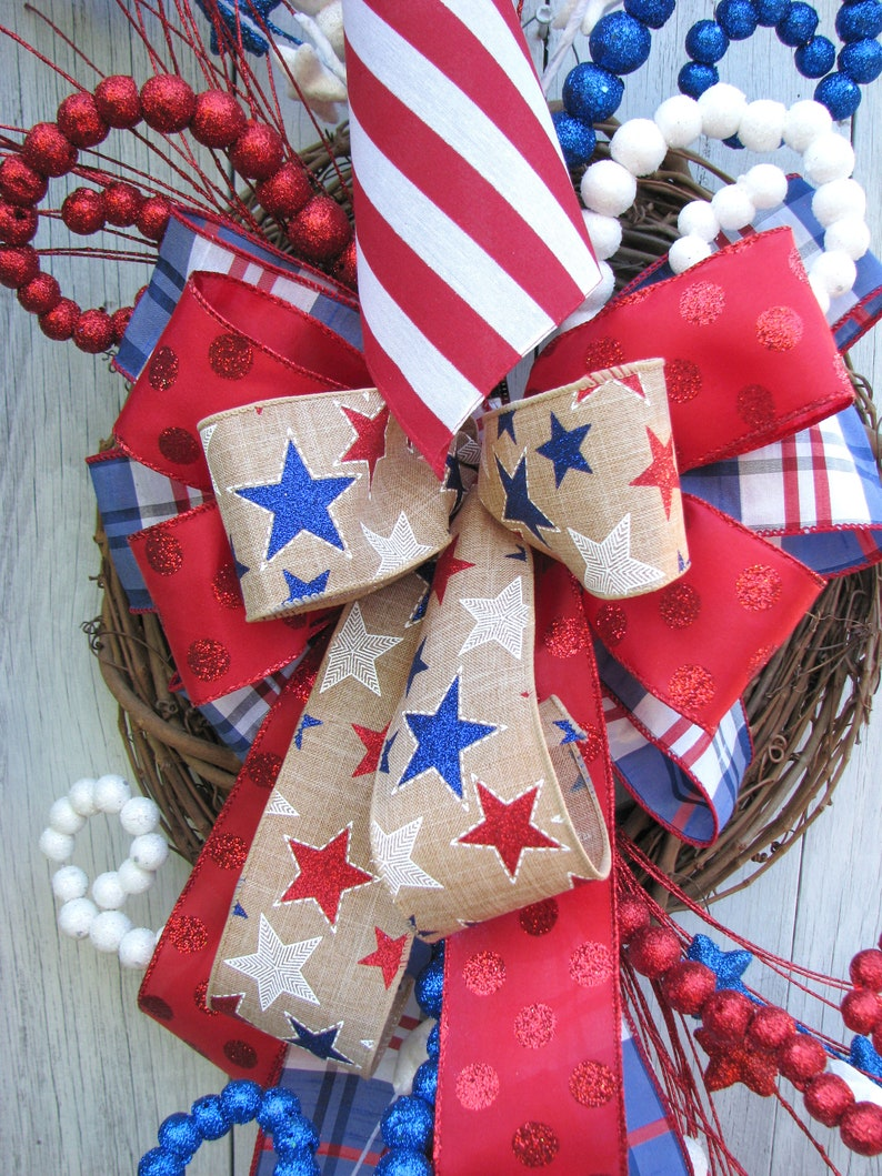 Patriotic Wreath Fourth of July Swag American Flag Wreath
