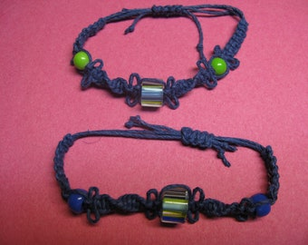 Denim blue hemp macrame bracelets with glass beads
