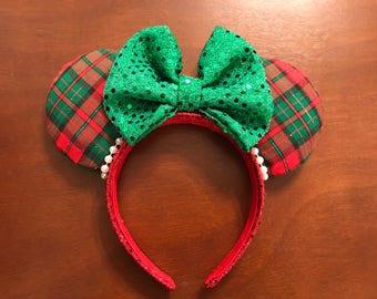 Plaid Christmas Mickey Ears
