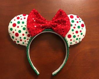 Polka Dot Christmas Mickey Ears