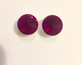 Rounds Fuchsia Swarovski crystal earrings