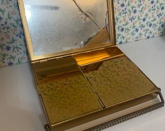 Rhinestone Clasp Swing Lok Locking Cover Flatter Face du Barry Makeup Powder Case Volupte Compact