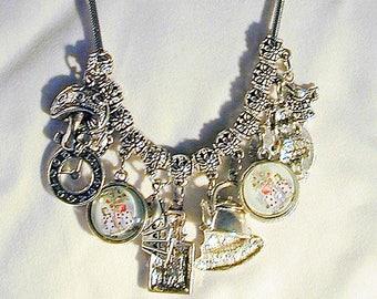 Alice In Wonderland Inspired Charm Necklace #3  Handmade  OOAK