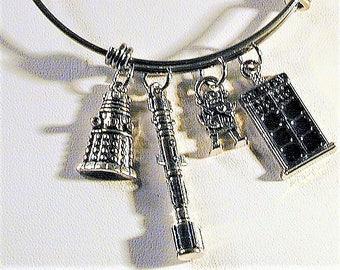 Dr.  Who Inspired Bangle Charm Bracelet #2