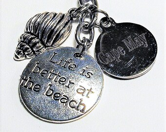 Cape May NJ Beach Inspired Charm Key Ring