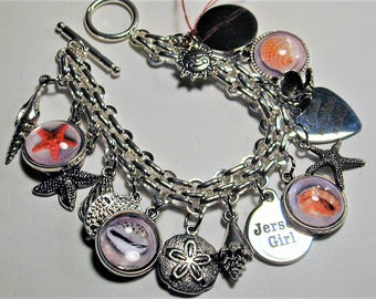 Jersey Shore Cape May Beach Inspired Sterling Charm Bracelet  OOAK