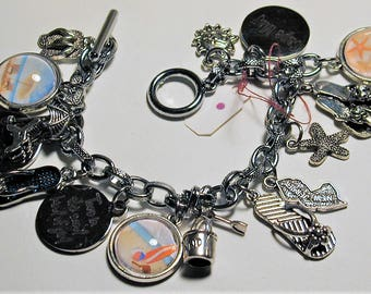 Jersey Shore Cape May Beach Inspired Charm Bracelet   OOAK