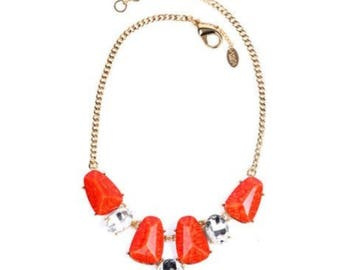 Coral & Austrian Crystal Tamira Necklace