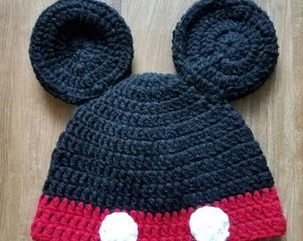 Mickey mouse hat/crotchet baby hat/toddler hat/baby boy hat/baby girl hat.