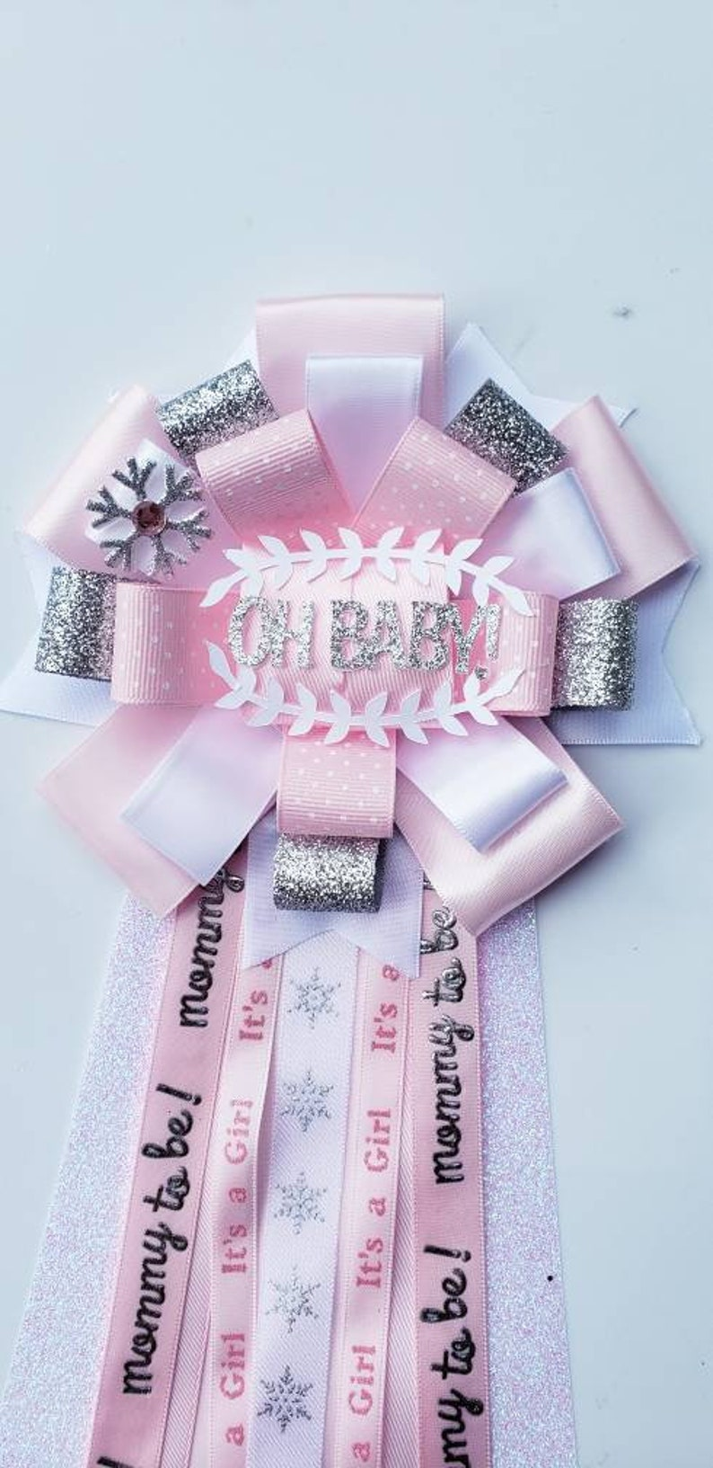 Wonderland witer baby shower corsagesnowflakes mumChristmas baby shower corsagepink and silver mom to be corsagewinter baby shower