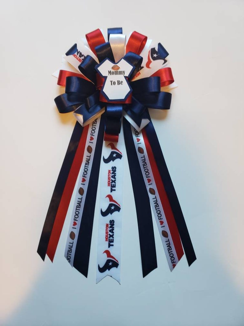 Houston Texans baby shower corsage themefootball baby shower corsagesport baby shower pinmom to be pinTexan baby shower corsagemum
