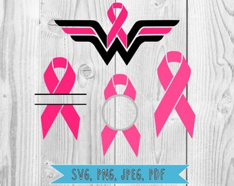 Breast Cancer SVG Breast Cancer Awareness Breast Cancer Ribbon SVG Bundle Cancer Awareness Svg files for Silhouette Cricut Clipart DXF