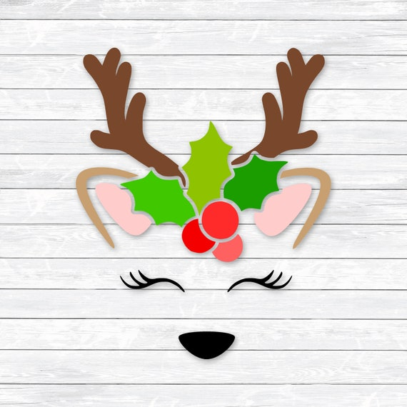 Reindeer Face Svg Baby Deer Christmas Clipart With Bow DXF PNG SVG Files For Silhouette