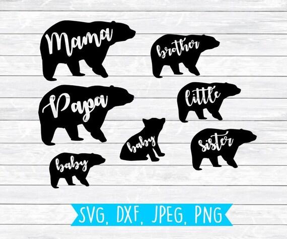 bear family svg mama bear papa bear baby bear brother etsy