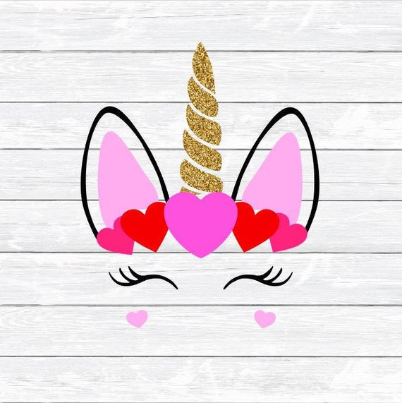 Valentine Unicorn Valentines Day Eyelashes Hearts Svg Etsy