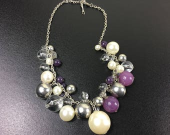 Vintage necklace, purple necklace