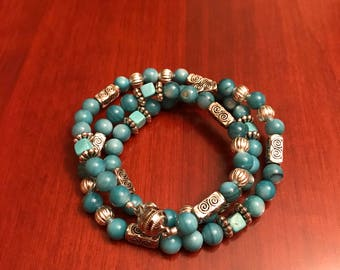 Turquoise and Silver Magnetic Clasp Wrap Bracelet
