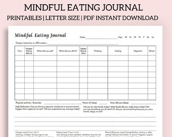 Mindful eating journal Printable and fillable PDF - Intuitive eating journal - Food journal - Conscious eating - Instant download