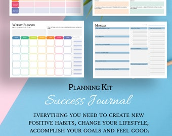 Success planner, planning kit with goal planner, monthly planner, weekly planner, planning sheets and review shee