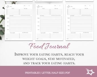 Daily Food Journal, food diary, health journal, Printable