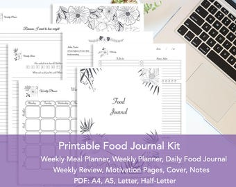 Food Journal Kit Printable, Daily Food Journal, Meal Planner, Week Planner, Weekly Review, Commitment Contract, Motivation, Cover Pages, PDF