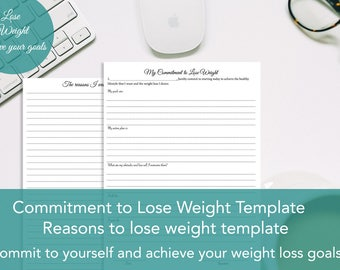 Commitment to lose weight template Printable, Reasons to lose weight templates, Printable Lose weight templates,