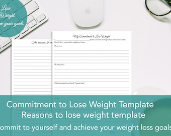Printable Commitment to lose weight template, Reasons to lose weight templates, Printable Lose weight templates,