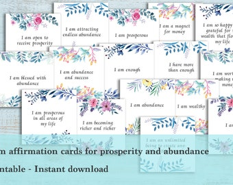 I am affirmation cards - Prosperity and abundance affirmation cards, Printable, Mantras, Positivity, spirituality, inspiration, empowering