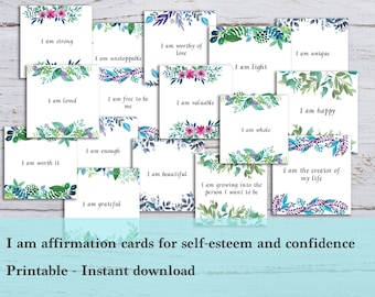 I am affirmation cards - I am enough and self-esteem affirmation cards, Printable - Mantras and positivity cards