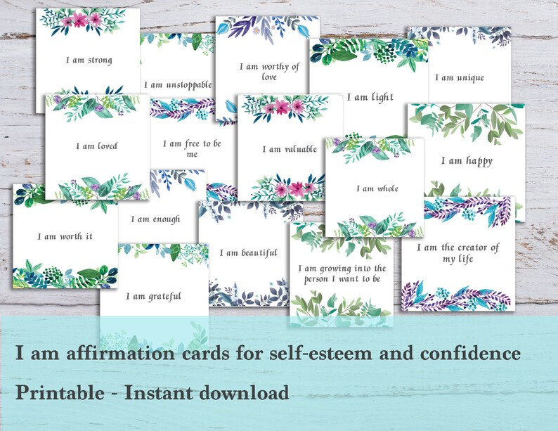 photo regarding Free Printable Affirmation Cards identified as I am confirmation playing cards - I am sufficient and self-esteem confirmation playing cards, Printable - Mantras and positivity playing cards