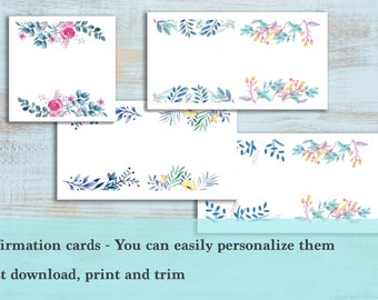 Affirmation cards - No text, you can personalize it - Printable, Mantras, Positivity, spirituality, inspiration, empowering