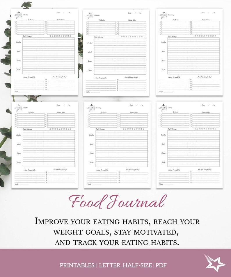 graphic regarding Food Diary Printable identify Every day Food stuff Magazine, foods diary, conditioning magazine, Printable