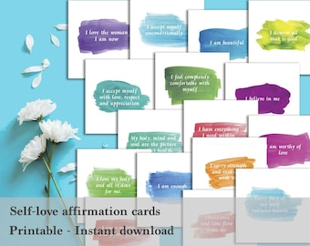 Self-love affirmation cards - Printable - Mantras - Positive cards - Love yourself cards