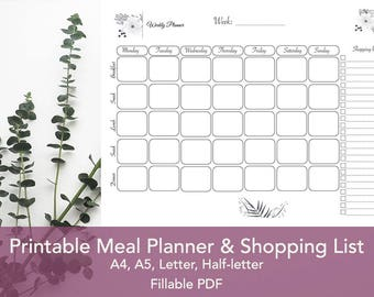 Meal Planner Printable, Weekly Meal Planner, Shopping list,  A4, A5, Letter & Half-Letter, Fillable PDF