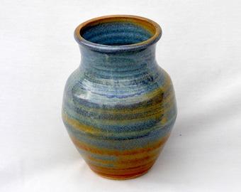 Stoneware Vase - Blue and Gold