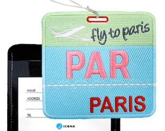ICONA Embroidered Luggage Tag / ID holder - Bon Voyage Tag PAR