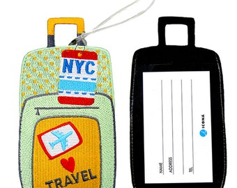 ICONA Embroidered Luggage Tag / ID holder - Bon Voyage Luggage NYC