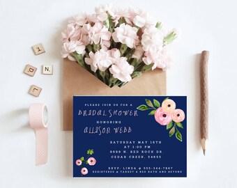 Blue and floral bridal shower invitation digital printable custom template 5x7