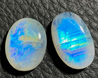 White Rainbow Moonstone Cabochon Oval Shape Loose Gemstone 21x16x7 mm For Making wire wrap Jewelry AAA